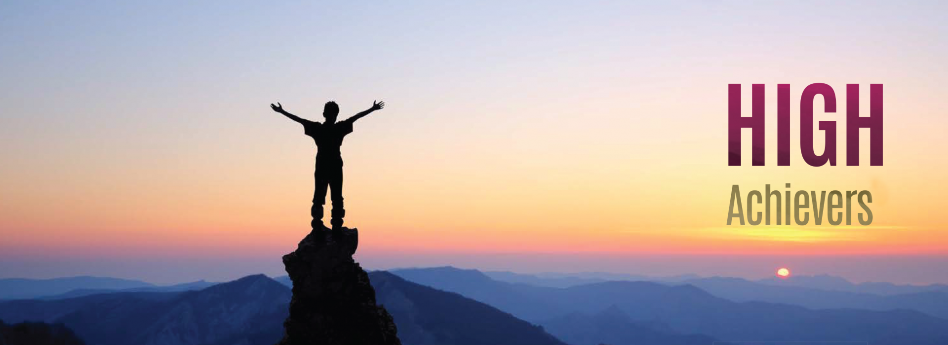 High achievers success, silhouette of person cheering on a mountaintop