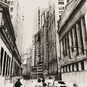 Fine Art A Level pencil drawing of city streets