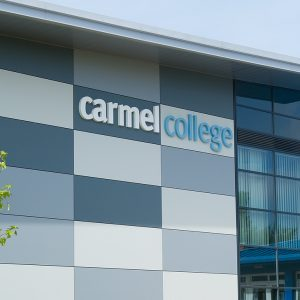 Front of Carmel College building entrance