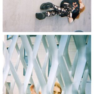 3 images from photography student of her lying on the floor