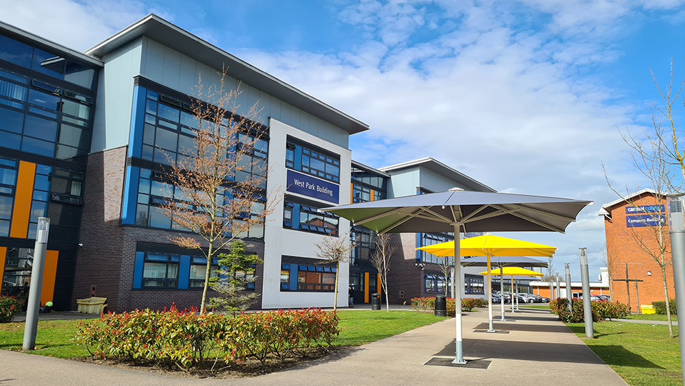 Campus courtyard at Carmel College, St Helens