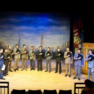 A group of students performing in the Dalton Theatre at Carmel College, St Helens