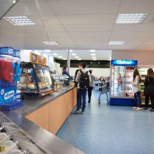 Students paying for food in the restaurant at Carmel College St Helens