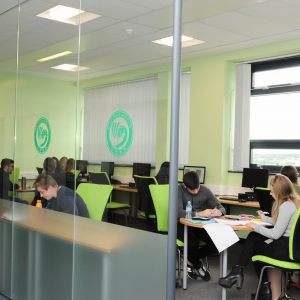 Students working in workbase Carmel College St Helens